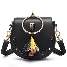 Ericdress Lastest Rivets Brim Tassel Saddle Crossbody Bag