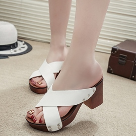 Ericdress Cross Band Peep Toe Mules Shoes