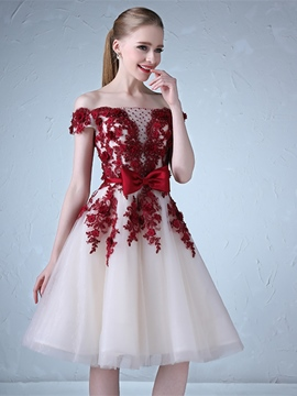Ericdress A Line Off The Shoulder Applique Prom Dress In Knee Length