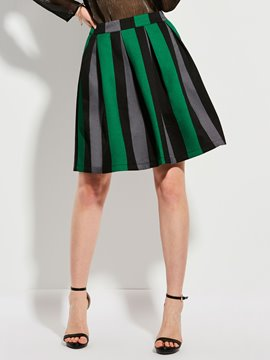 Color Block Stripe A-Line Skirt