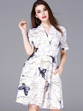 Ericdress Print V-Neck Pocket A Line Dress