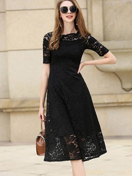Ericdress Slash Neck Expansion Mid-Calf Lace Dress