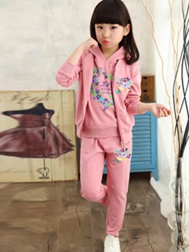 Ericdress 3 Color Hoodie Vest Pants Three Pcs Girls Outfit