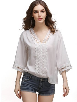 Ericdress V-Neck Lace Crochet T-Shirt