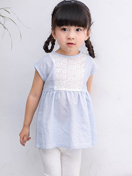 Ericdress Stripe Hollow Patchwork Baby Girls Dress