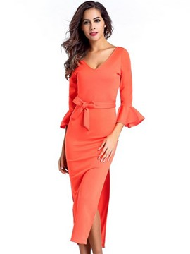 Ericdress Ruffle Sleeve V-Neck Belt Sheath Dress