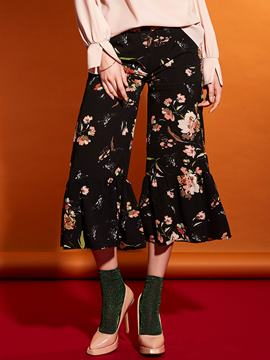Falbala Flower Print Mid-Calf Bellbottoms