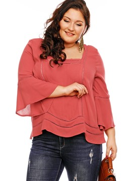 Ericdress Square Neck Plus Size Blouse