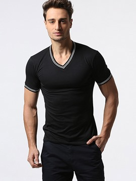 Ericdress Stripe Hem V-Neck Casual Men's T-Shirt