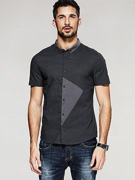 Ericdress Short Sleeve Patched Casual Slim Men's Shirt