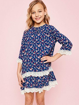 Ericdress Lace Patchwork Pleated Girls Dress