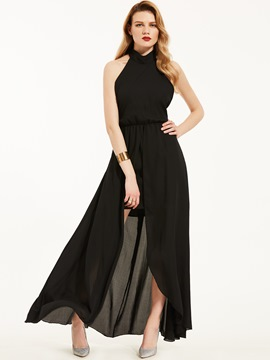 Ericdress Halter Tie-Neck Backless Slit-Front Maxi Dress