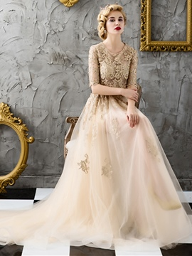 Ericdress Vintage A-Line Half Sleeves Lace Evening Dress