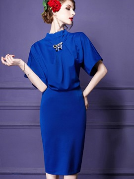 Ericdress Batwing Pleated Short Sleeve Sheath Dress