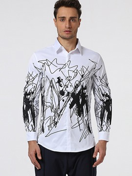Ericdress Print Long Sleeve Men's Shirt