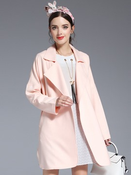 Ericdress Solid Color Casual Coat