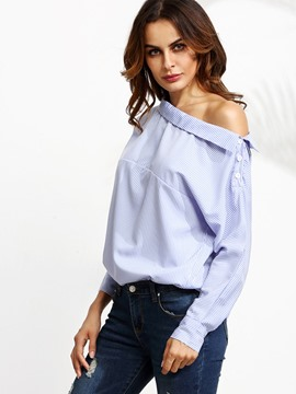 Ericdress Oblique Neckline Striped Blouse
