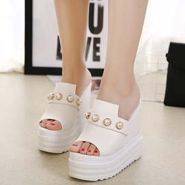 Ericdress PU Rhinestone Peep Toe Wedge Sandals
