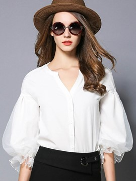 Ericdress V-Neck Lantern Sleeve White Blouse