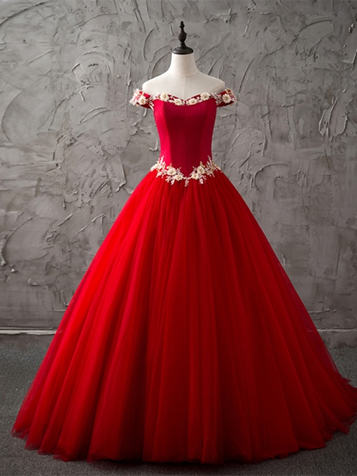 Ericdress Off The Shoulder Applique Ball Quinceanera Gown