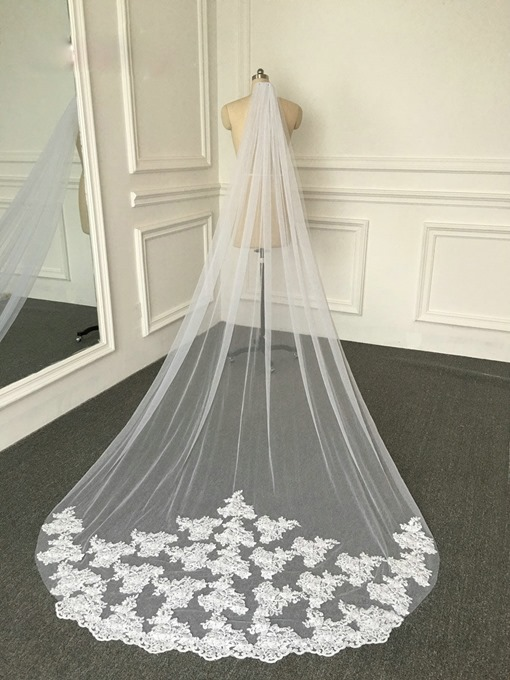 Ericdress Lovely 1T Tulle Floral Appliques Bridal Veil