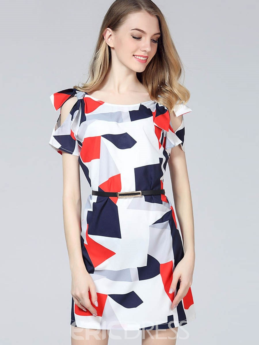 Ericdress Geometric Printing Off-The-Shoulder Bodycon Dress 12800841