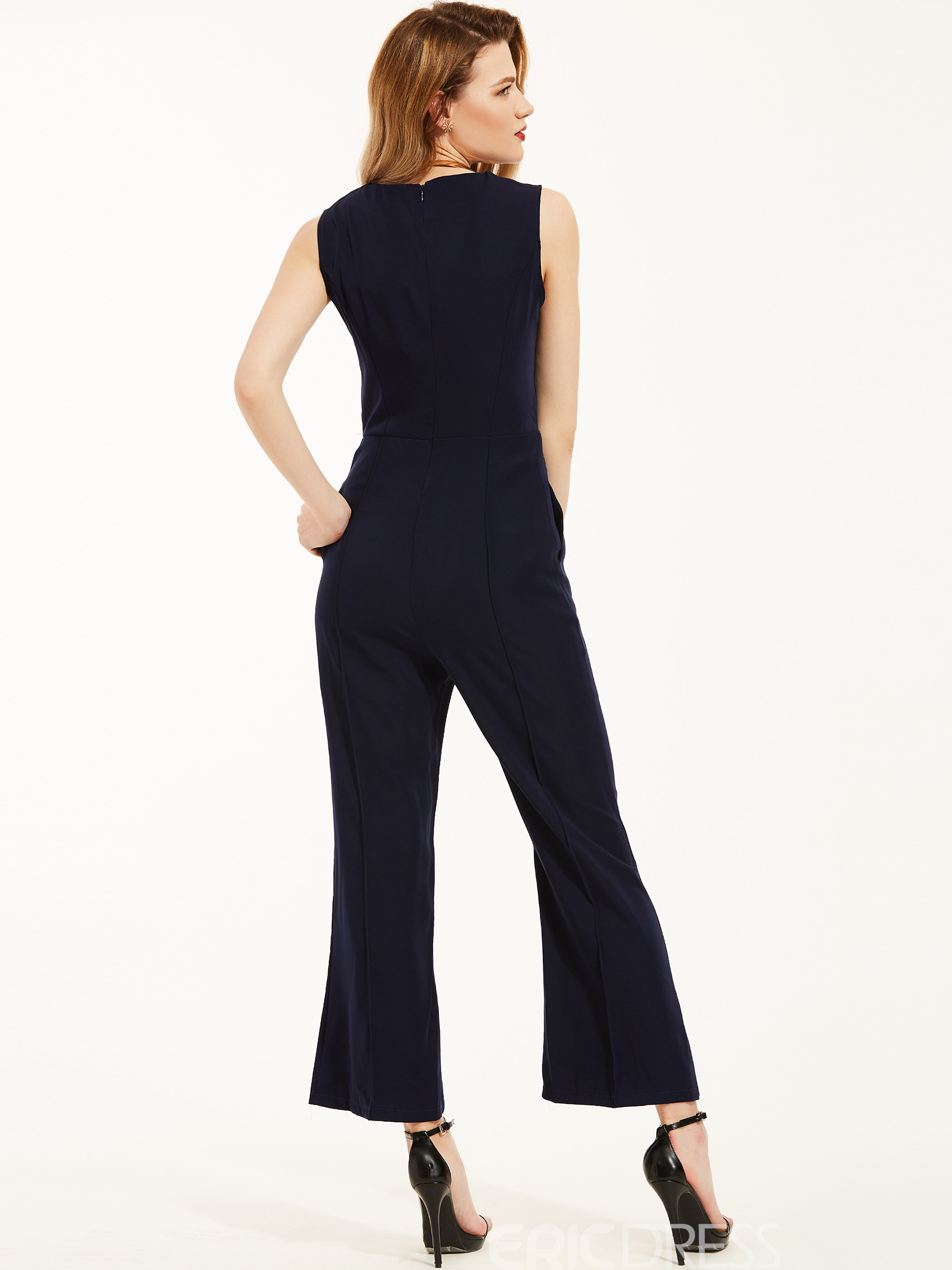 Slim Plain Wide Leg Jumpsuit