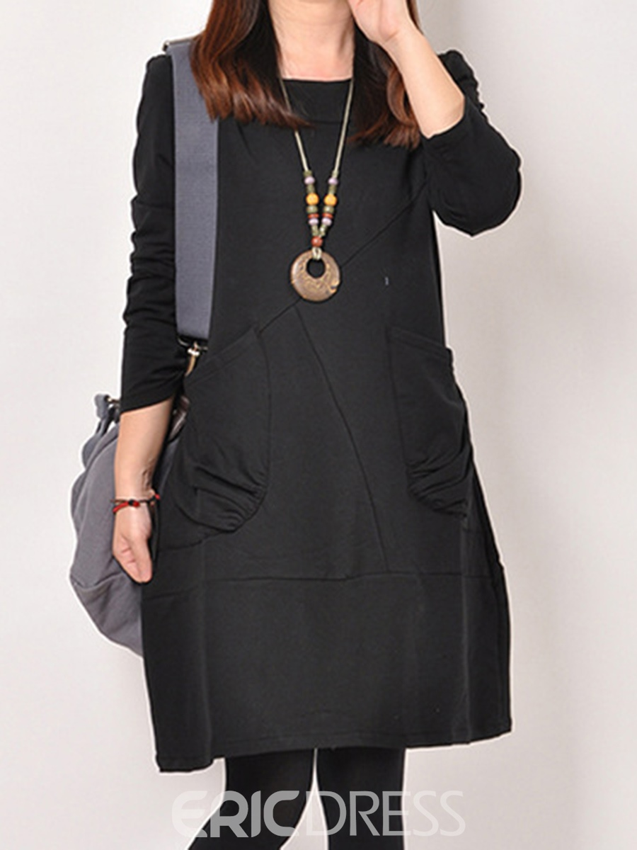 Ericdress Plain Pleated Pocket A-Line Casual Dress