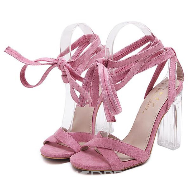 Ericdress Korean Lace up Crystal Heel Chunky Sandals