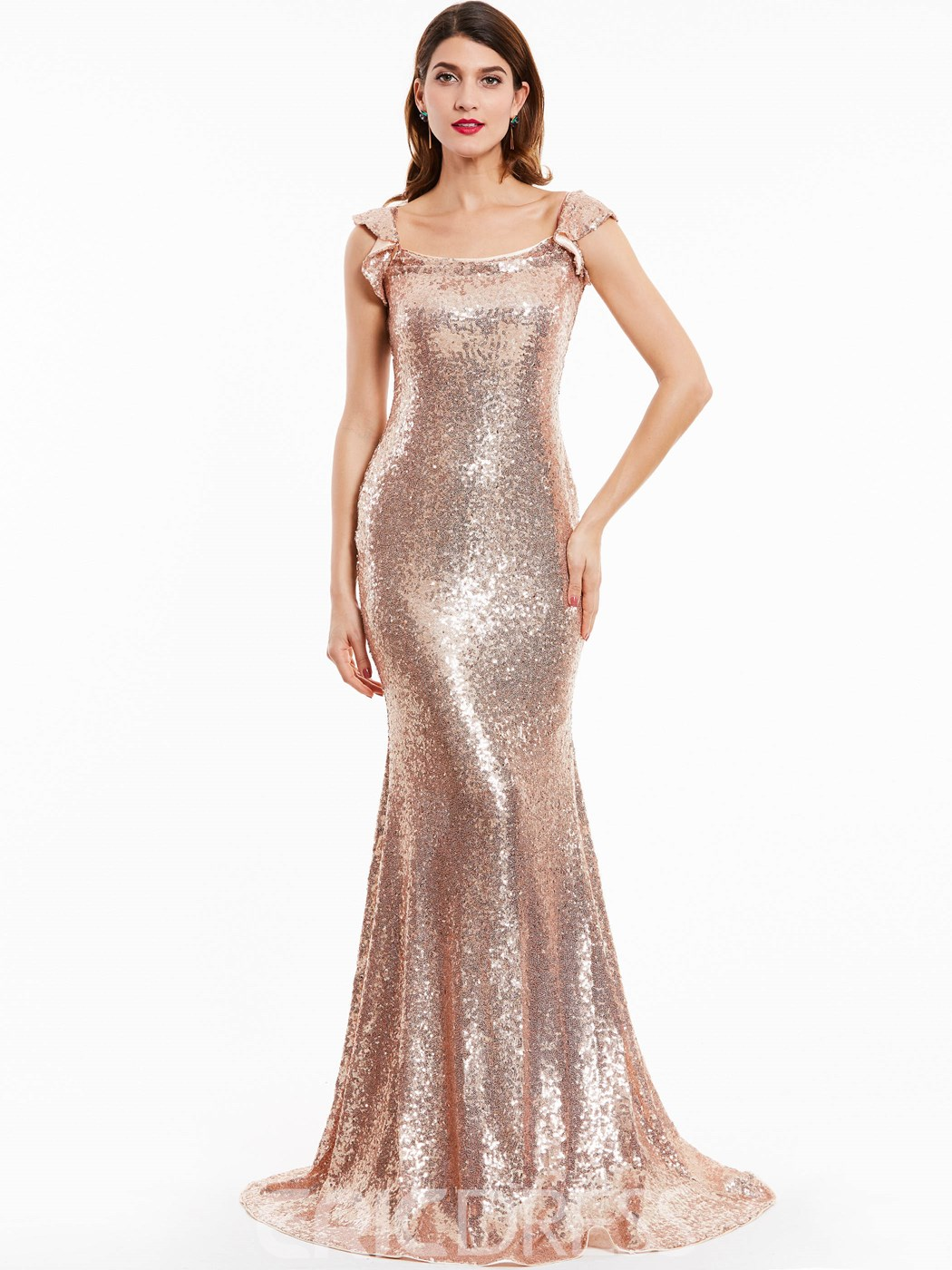 Ericdress Spaghetti Straps Sequins Mermaid Evening Dress