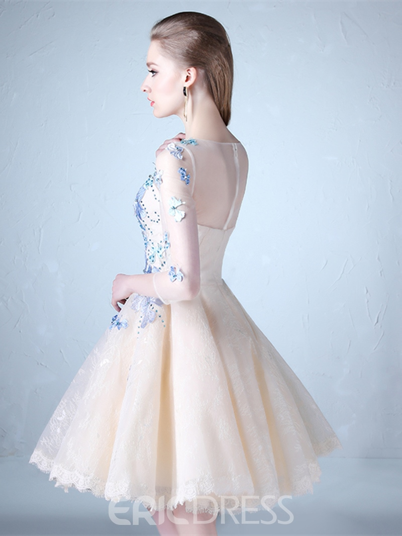 Ericdress A Line Half Sleeve Applique Knee Length Prom Dress