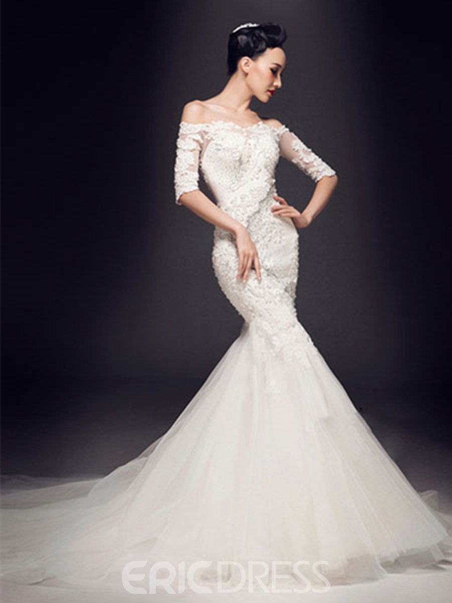 Stunning Mermaid Off-The-Shoulder Appliques Beadings Half Sleeves Wedding Dress