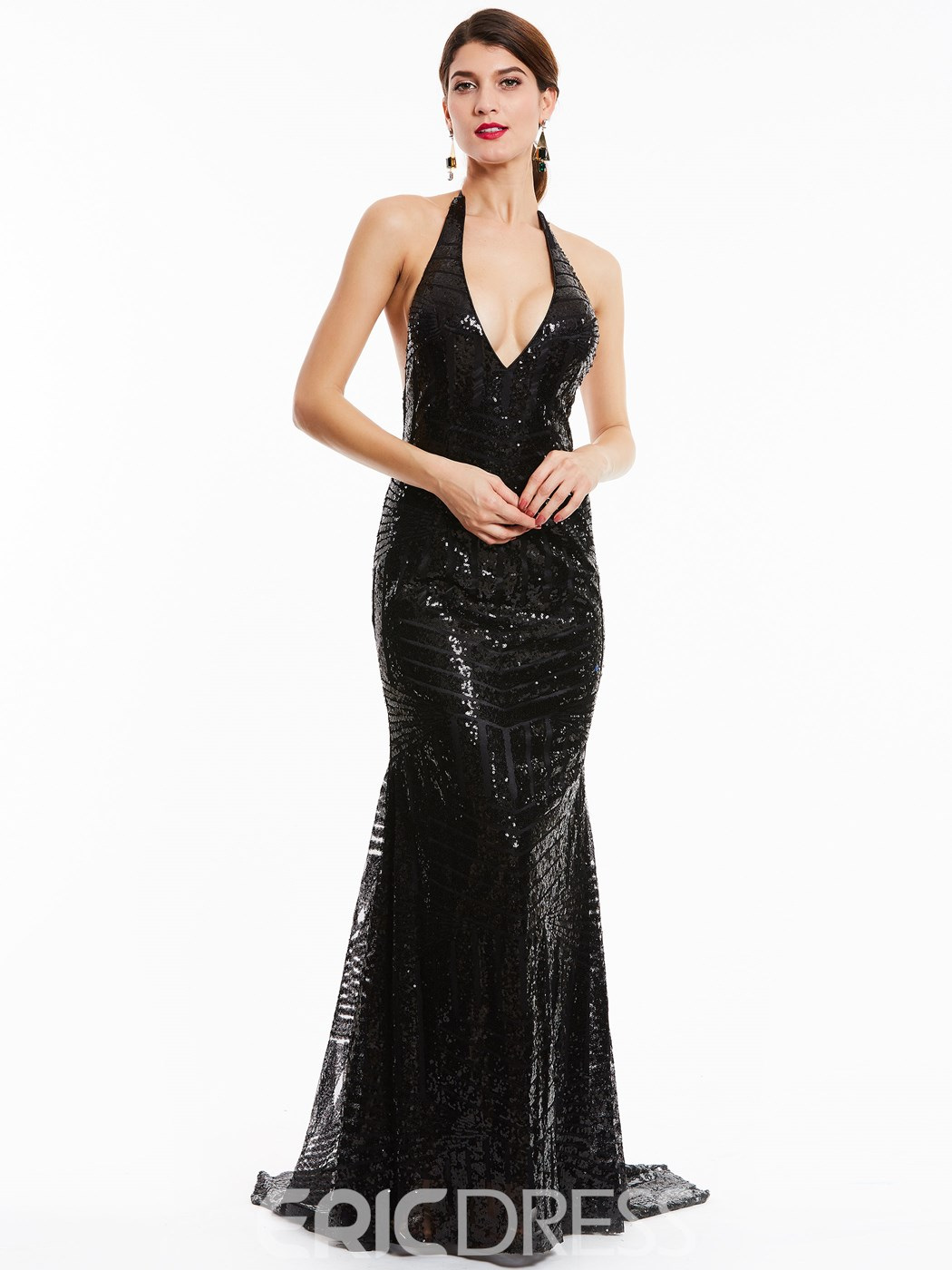 Ericdress Halter Neck Backless Sequins Mermaid Evening Dress