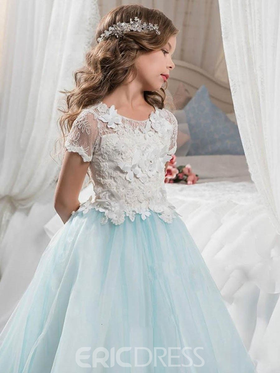 Ericdress Short Sleeves 3D-Floral Appliques A-Line Flower Girl Dress