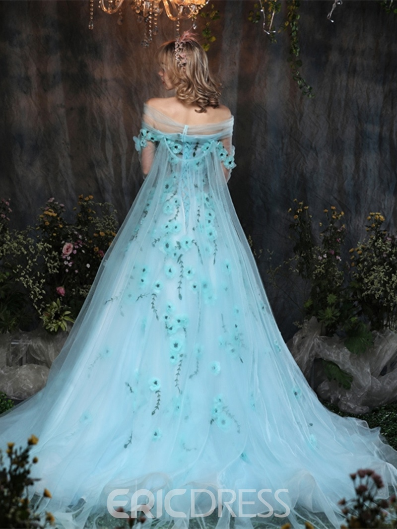 Ericdress Off The Shoulder Flower Quinceanera Ball Gown With Court Train