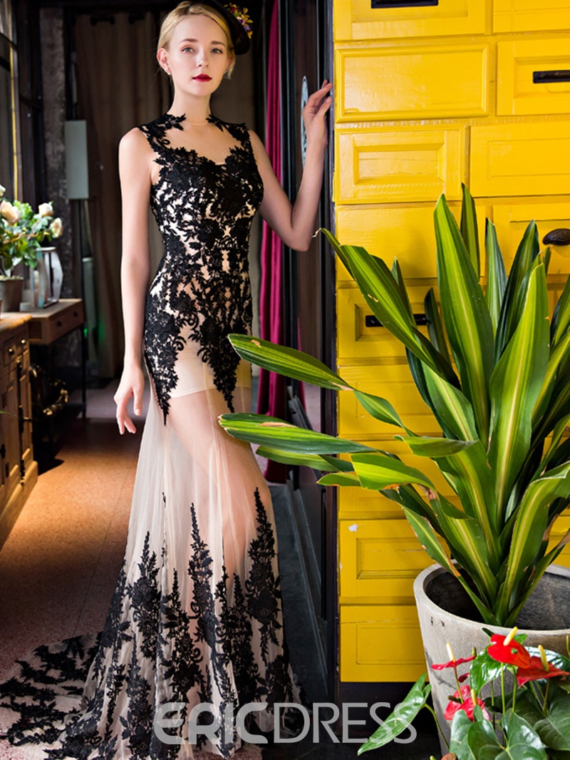 Ericdress Sheath Applique Lace-Up Evening Dress With Court Train
