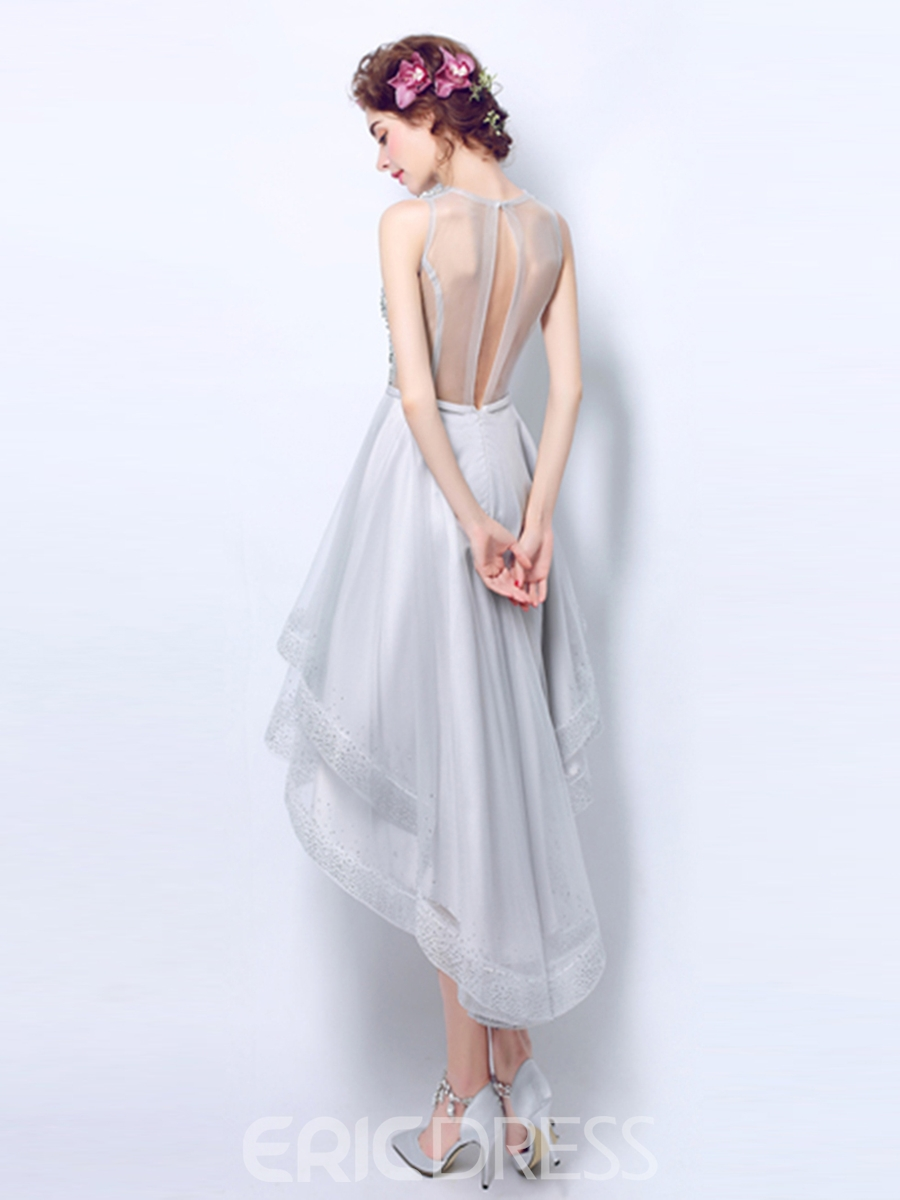 Ericdress A Line High Low Beaded Asymmetry Prom Dress With Sheer Back