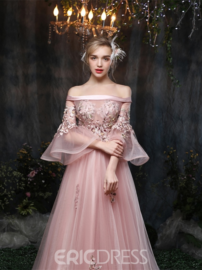 Ericdress Princess Off The Shoulder Applique Evening Dress With 3/4 Sleeves