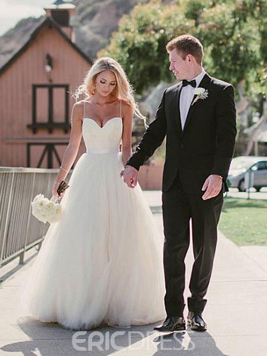 Ericdress Simple A Line Backless Spaghetti Straps Sweetheart Wedding Dress
