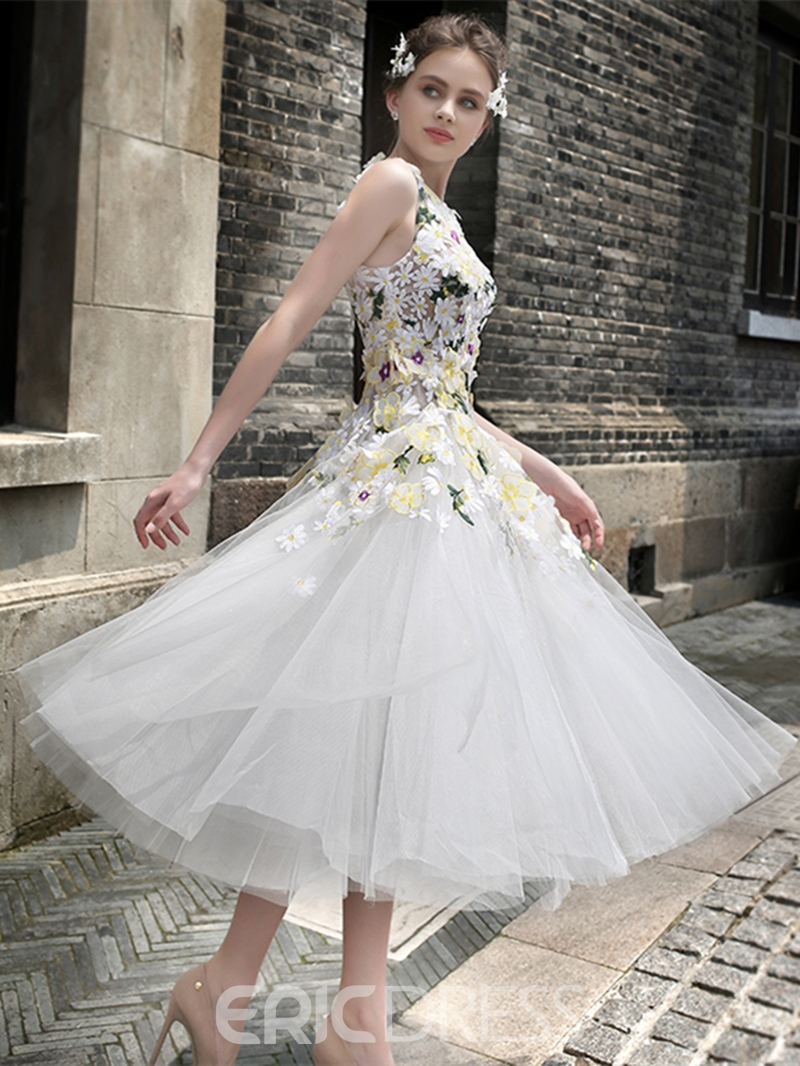 Ericdress A Line Hand Made Flower Tea Length Prom Dress