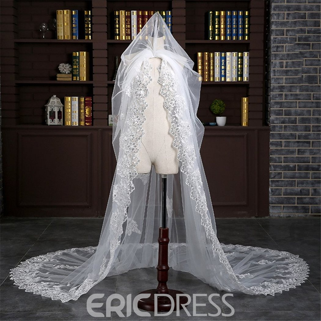 Ericdress Beautiful Appliques 2T Lace Edge Wedding Veil