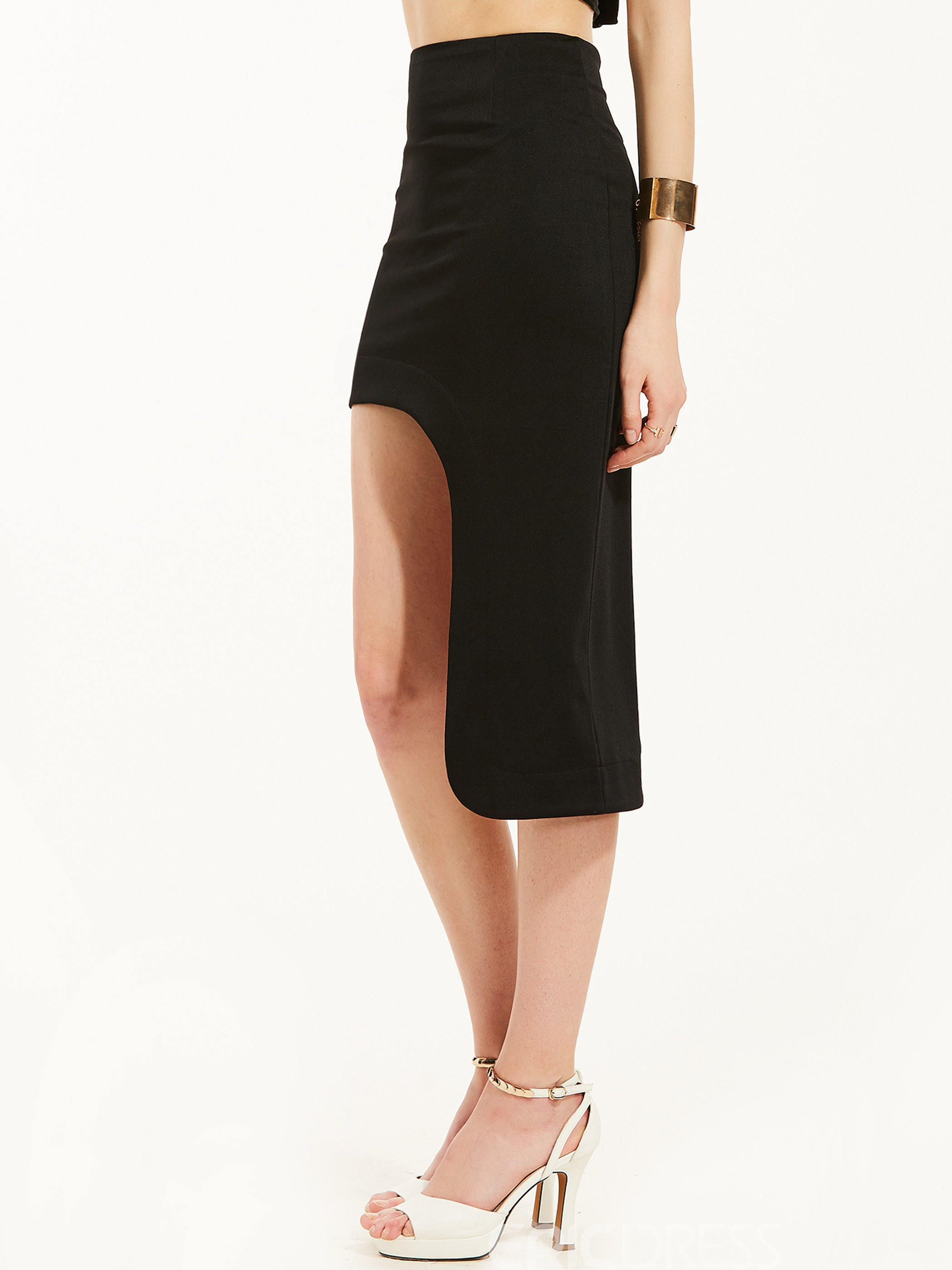 Mid-Waist Plain Mid-Calf Asymmetrical Skirt