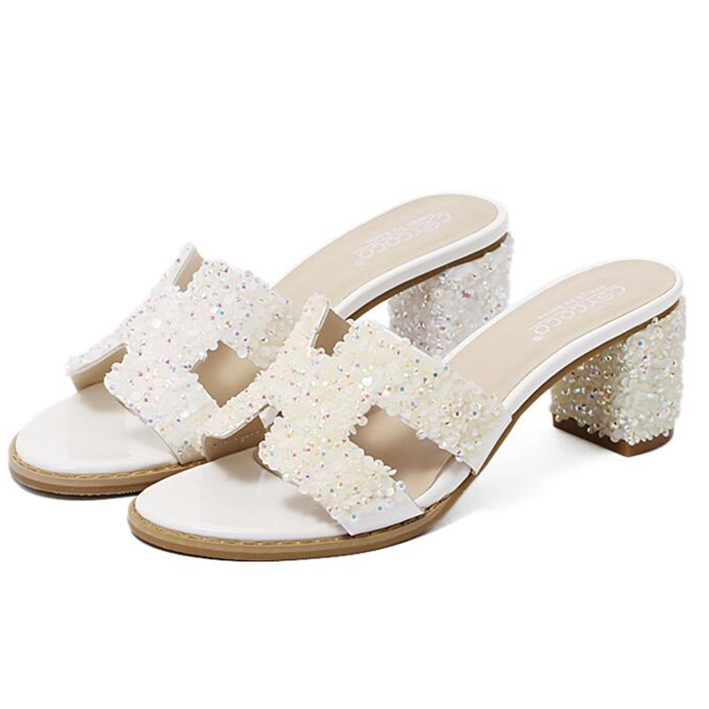 Ericdress All Match Roman Rhinestone Mules Shoes