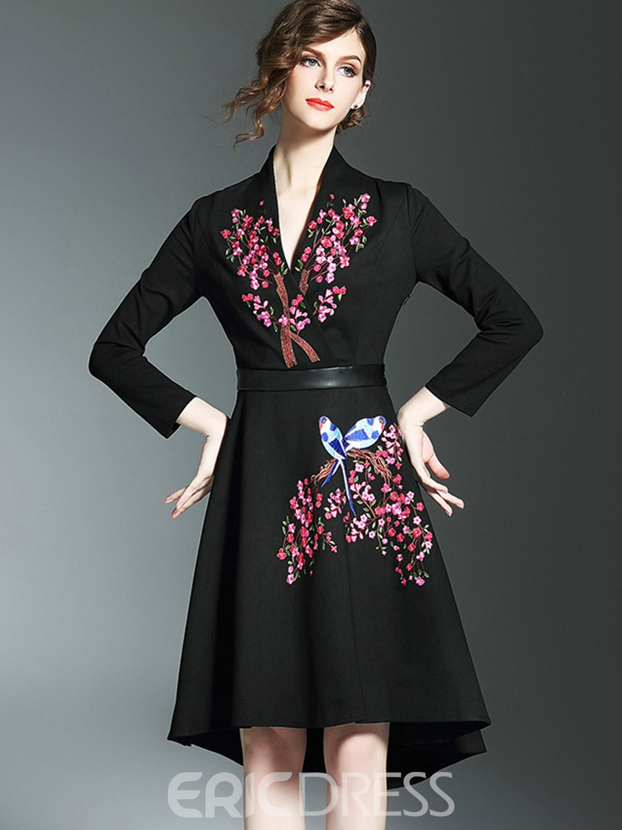 Ericdress Embroidery V-Neck Patchwork A Line Dress