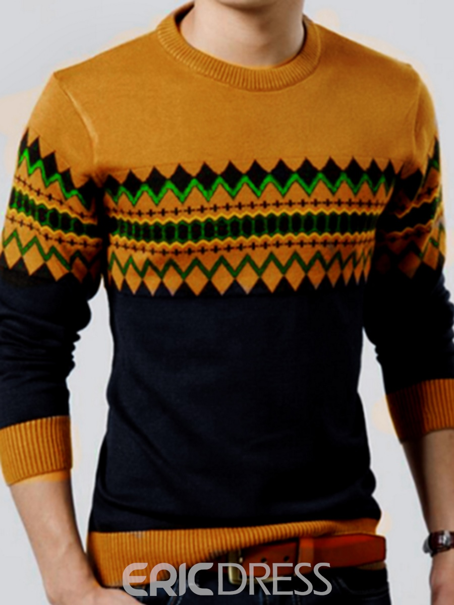 Ericdress Vogue Pattern Round Neck Pullover Men's Sweater
