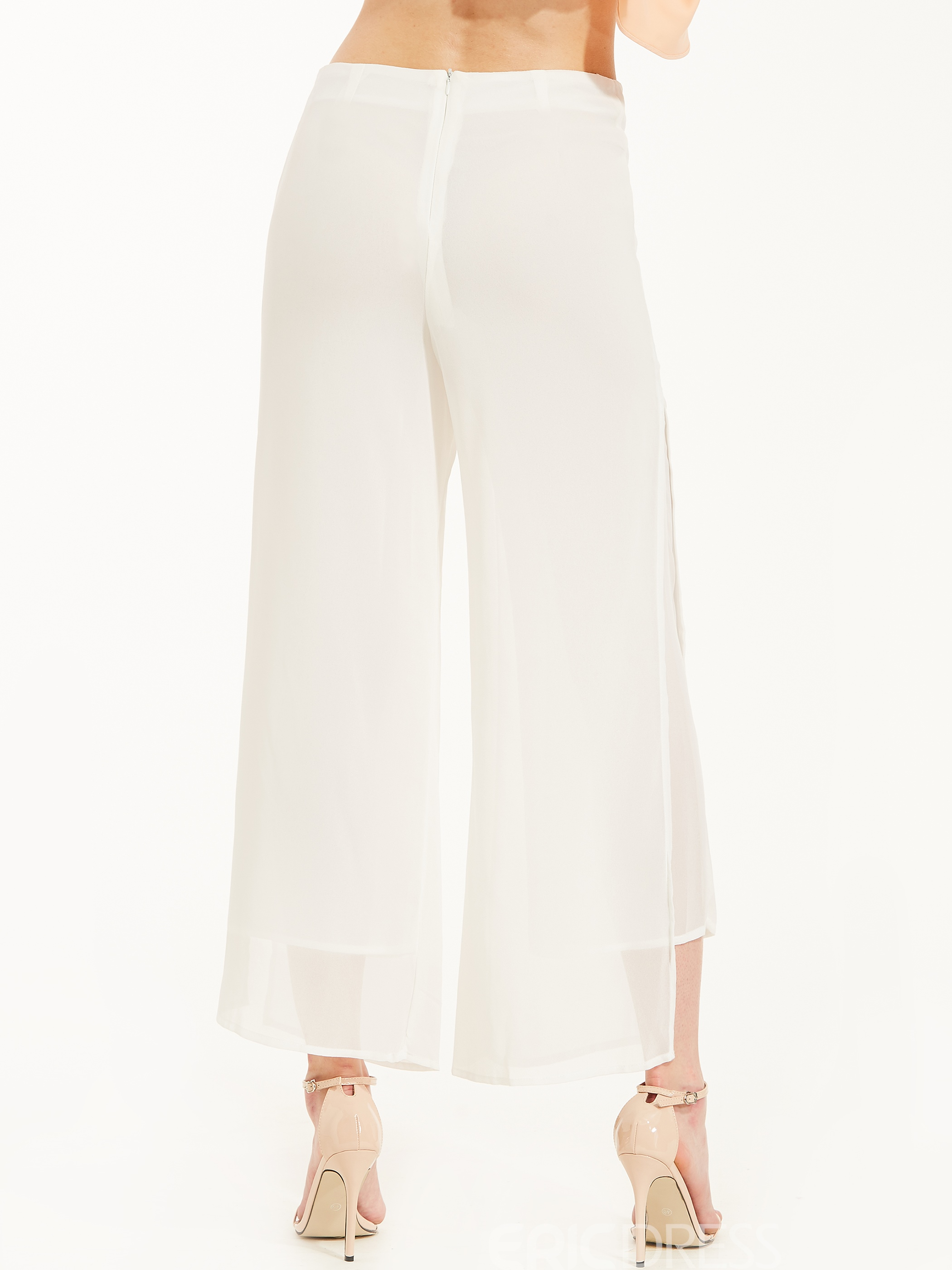Loose Plain Ankle Length Wide Legs Pants
