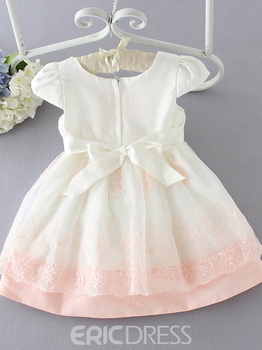 Ericdress Foral Lace Bead Short Sleeve Princess Girls Dress