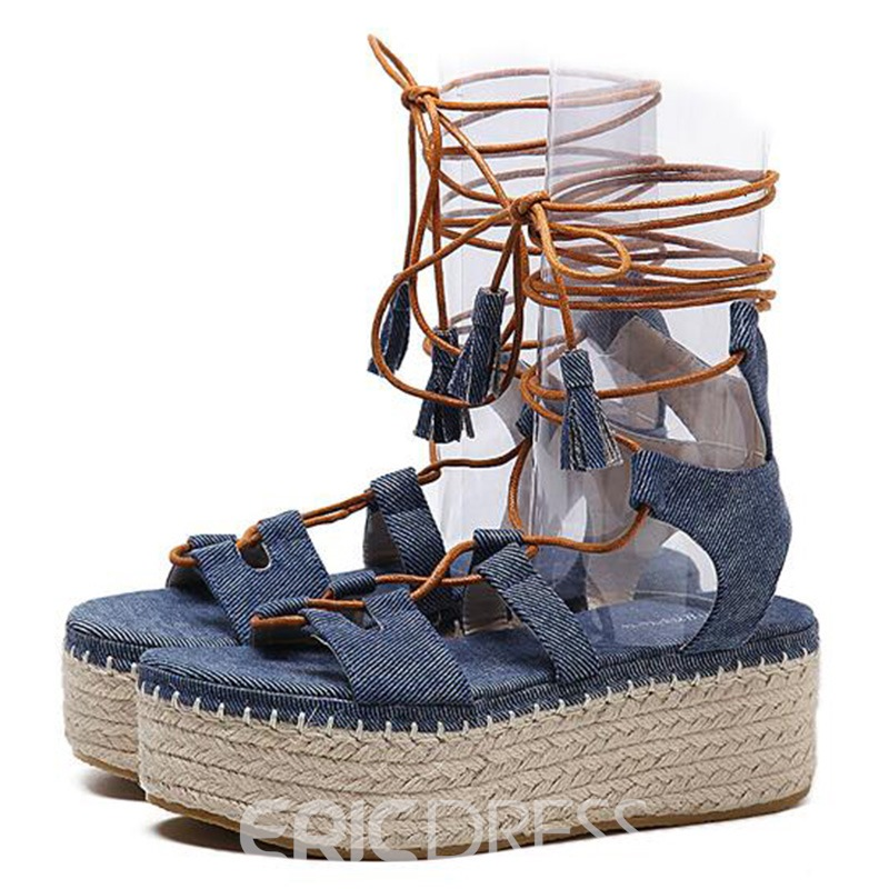 Ericdress Vintage Kintting Lace up Wedge Sandals