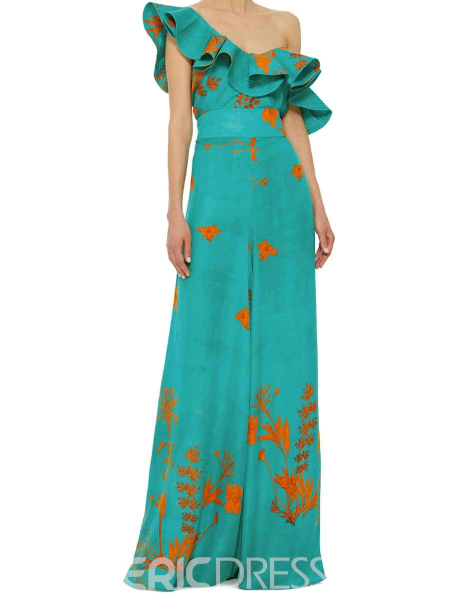 Ericdress High Waisted Green Flower Print Women's Pants