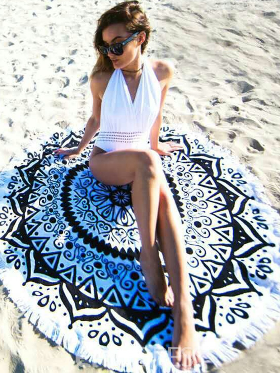 Ericdress Unique Print Round Fringed Beach Blanket